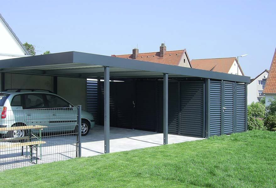 doppelcarport mit ger teraumeinbau von siebau carport. Black Bedroom Furniture Sets. Home Design Ideas