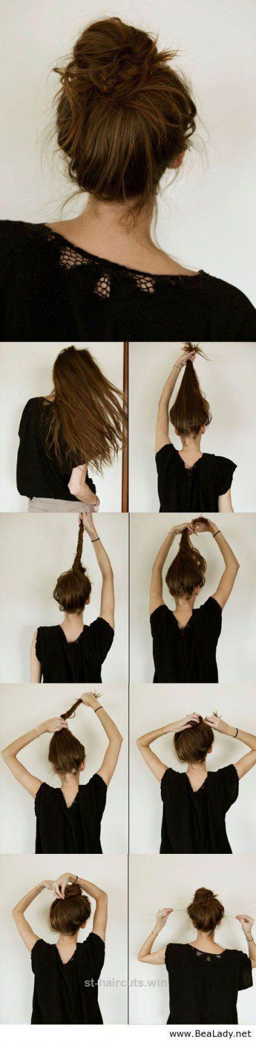 Casual Messy Hair Bun Step By Step Hair Updo By Makeup Tutorials At Makeuptuto St Haircuts Bun Hairstyles For Long Hair Cute Everyday Hairstyles Hair Styles