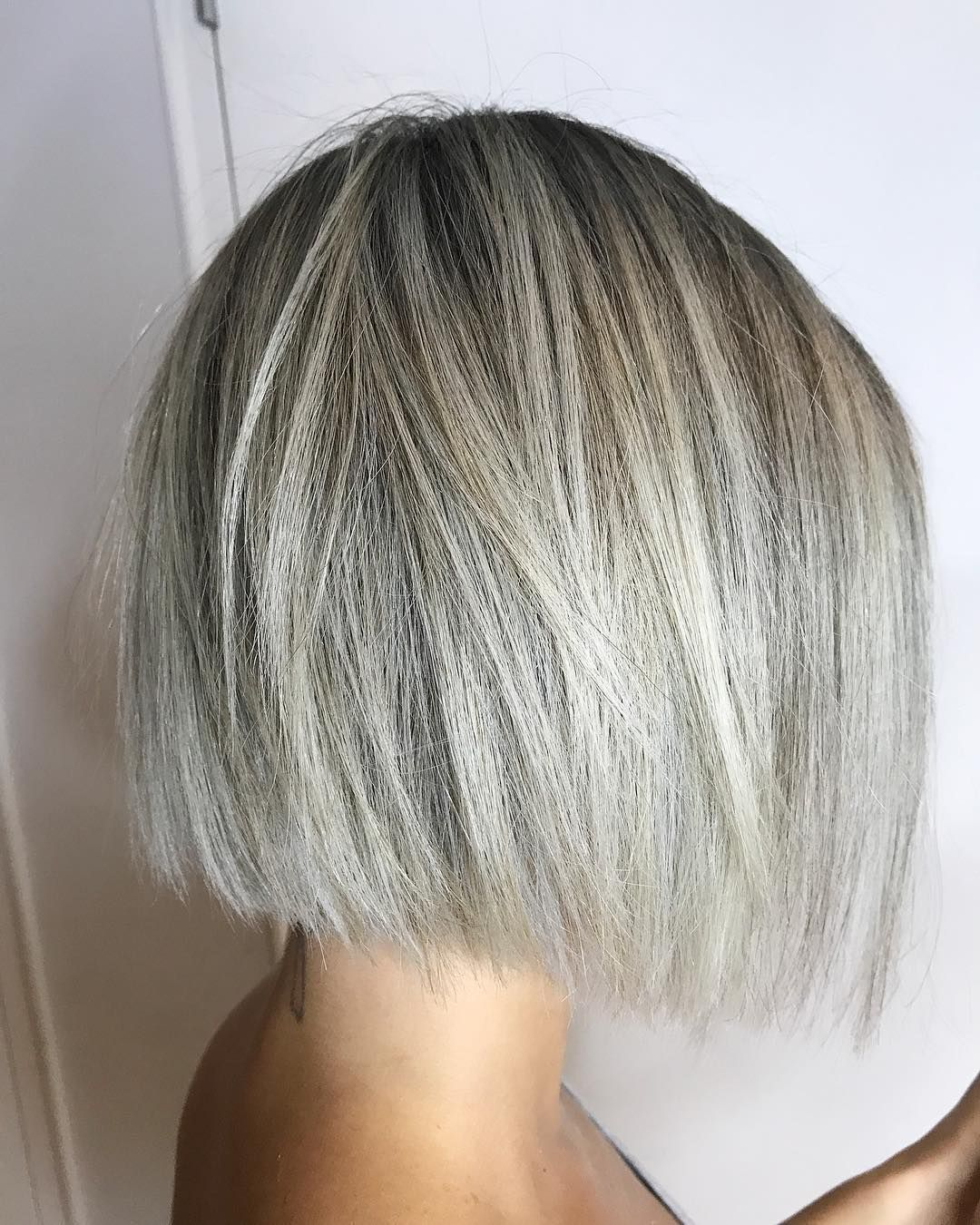 Grey Blunt Bob  Short hair highlights, Grey bob hairstyles, Short