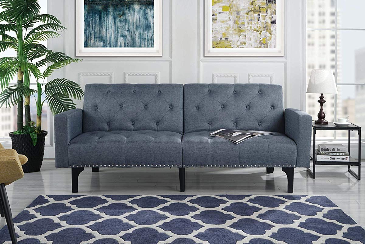 Modern Tufted Fabric Sleeper Sofa Bed With Nailhead Trim Grey Modern Sleeper Sofa Sofa Colors Best Sofa