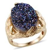 Valentine Day Sale 50% Discount.   ​Cobalt Blue Drusy Quartz (Ovl) Ring in 14K YG Overlay Sterling Silver Nickel Free (Size 9) TGW 12.00 Cts.