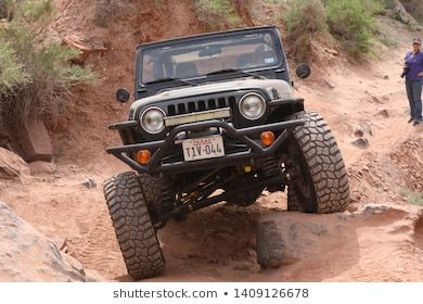 #Moab #,Utah,USA,April,20,2019 #:  Moab ,Utah,USA,April,20,2019 : Black Rubicon Jeep on Kane Creek 4x4 off road Jeep trail during Easter Safari. #utahusa