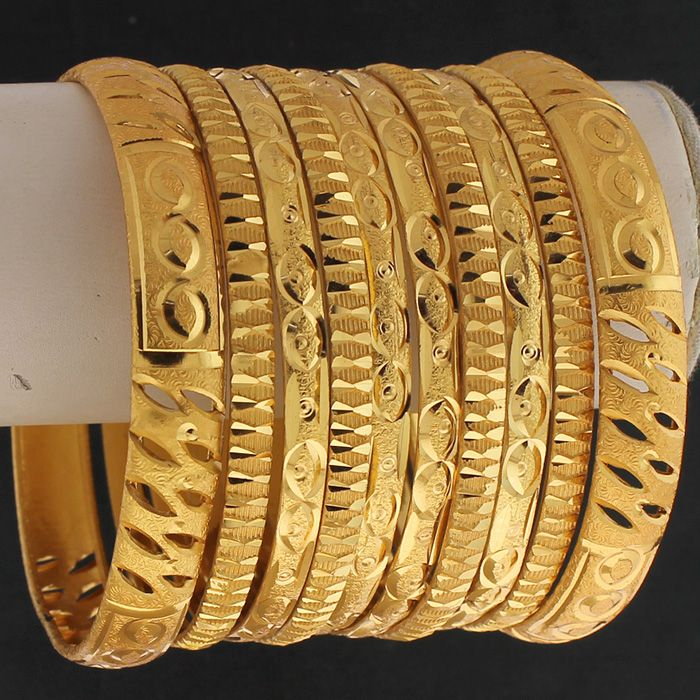 22ct Gold Plated Indian Bridal Bangles Set Size 2.10 | Indian ...