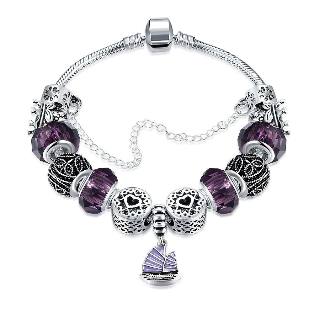 Warship navy boat charm bracelet women purple beads bracelets