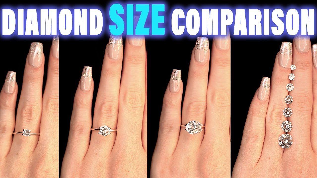 Diamond Size Comparison On Hand Finger Carat 1 2 3 4 0 5 Ct 0 25 0 75 1 5 0 3 0 8 0 7 0 6 0 4 Engagement Rings On Finger Diamond Carat Comparison Diamond Sizes
