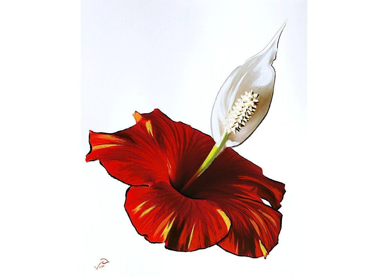 8x10 Vonflora Hibiscus Peace Lily Flower Oil Paint On Print Mixed Media Flower Art Flower Painting Flower Print In 2020 Oil Painting Flowers Flower Painting Flower Art