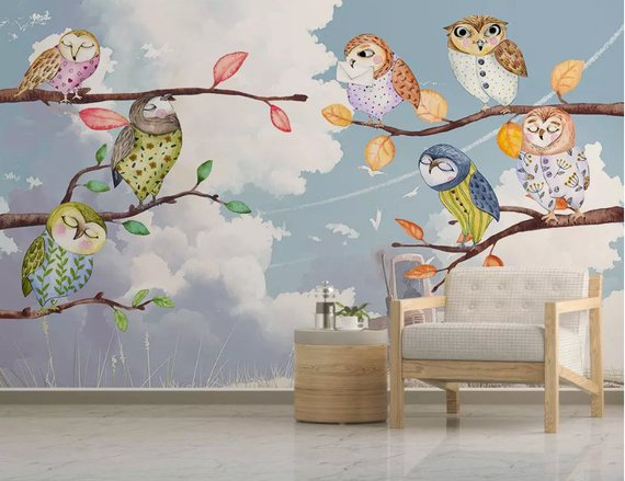 3D Kids,Branches, Colorful owl WallpaperNursery Wallpaper