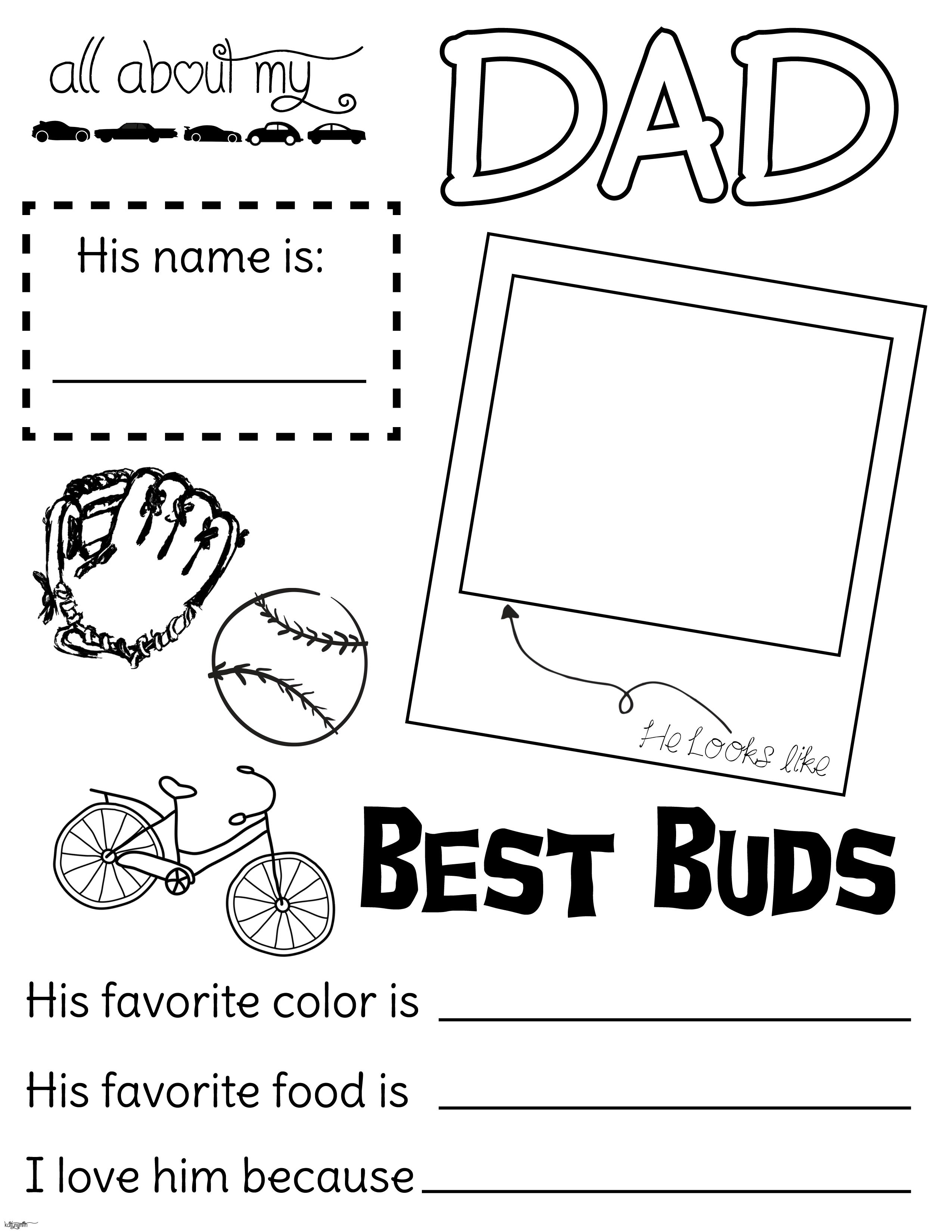 All about my dad. Fathers Day handout. fillout, coloring page. lds ...