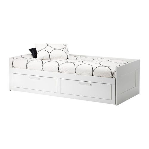 Brimnes daybed frame with 2 drawers white storage for Divan double bed frame