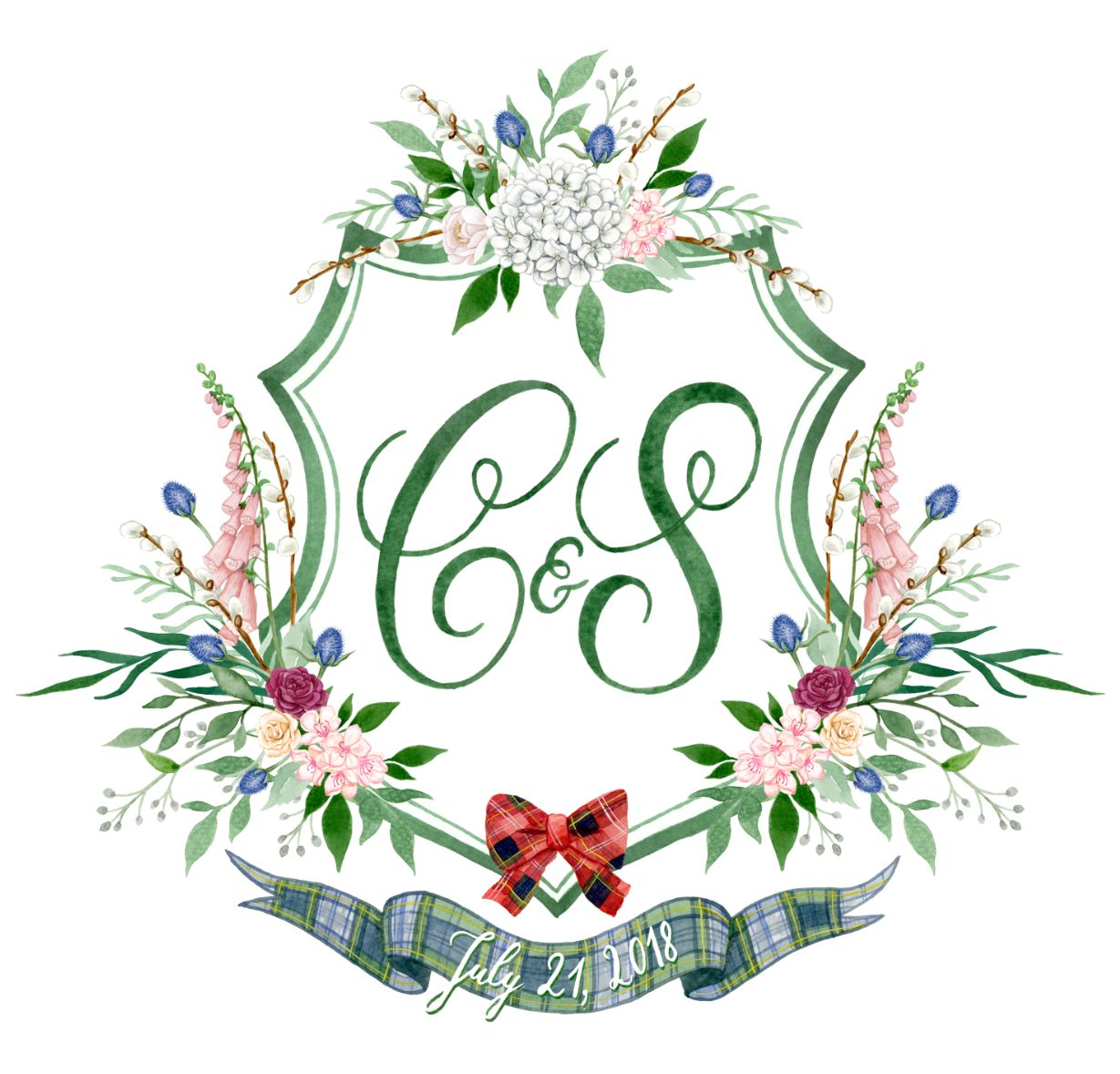 Custom Watercolor Wedding Crest Digital Only Hand Painted