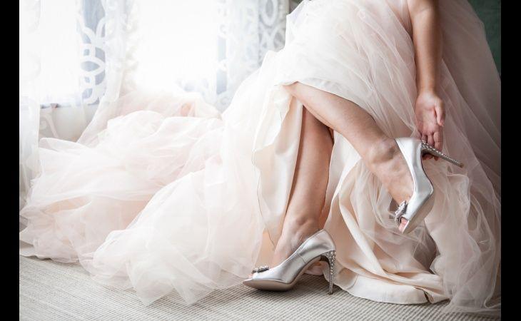 Miu Mius and a blush Vera Wang Gown | Cherry & Jimmy | realweddings #weddinggowns #weddingshoes