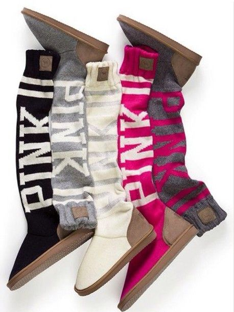 Shoes Pink Victoria S Secret Style Cute Pretty Boots White Pink By