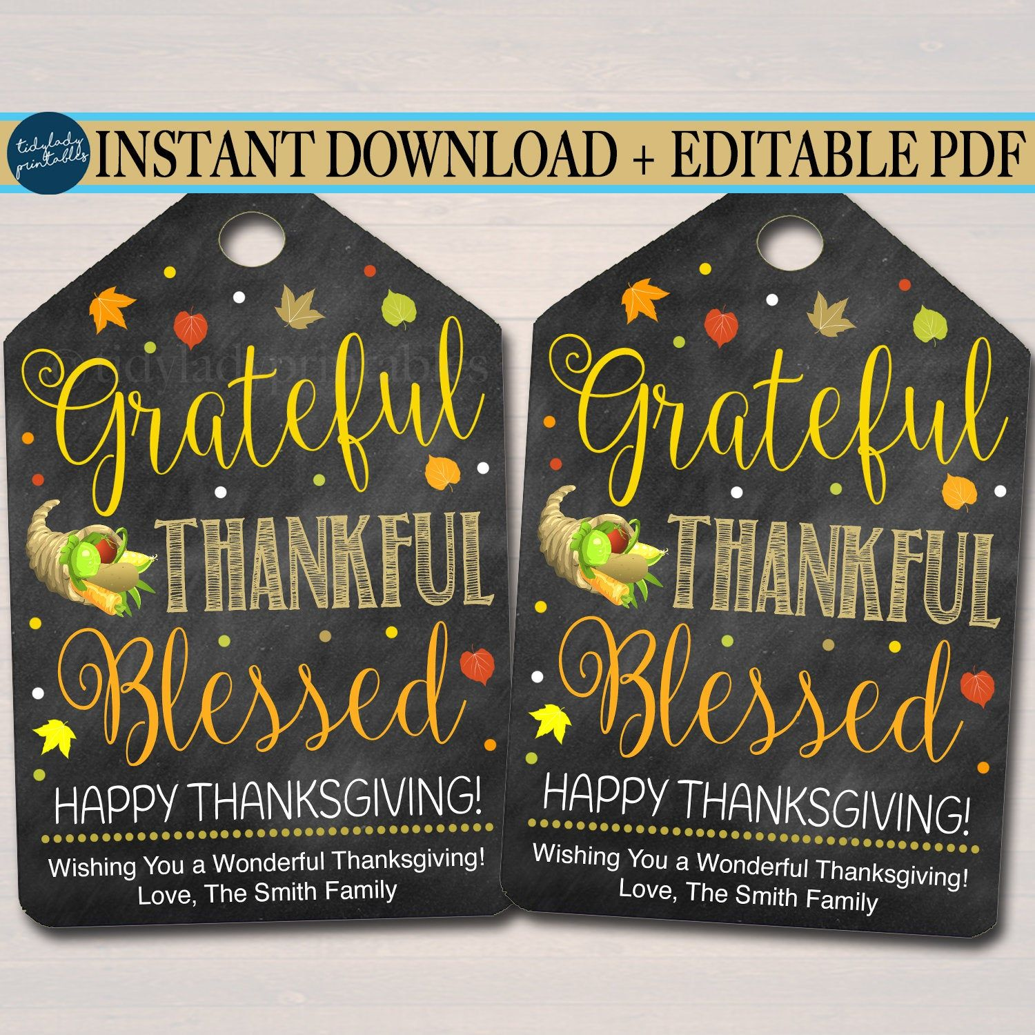 Thanksgiving Gift Tags, Grateful Thankful Blessed, Holiday Fall Staff Teacher Volunteer Gift, Printable Bakery INSTANT DOWNLOAD Editable Pdf #thanksgivinggiftsforteachers