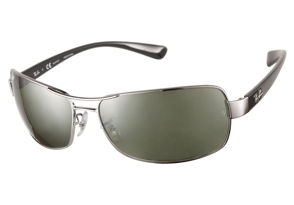 cf1ebf712d Ray-Ban RB3379 004 58 Gunmetal Polarized 64 sunglasses are a square aviator  style. The contoured lenses and rectangular style offer full protection.