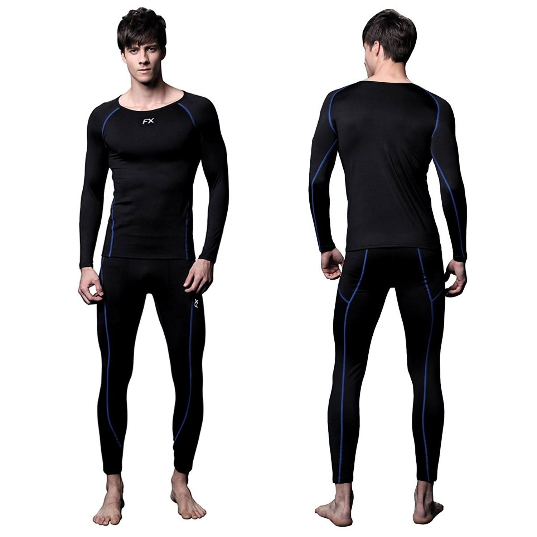 Men Cold Gear Compression Top Base Layer Pants Legging Shirts SET Fleece Thermal