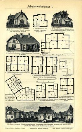 Work Worker houses 3 Original text panels & Axz - Biller Antik