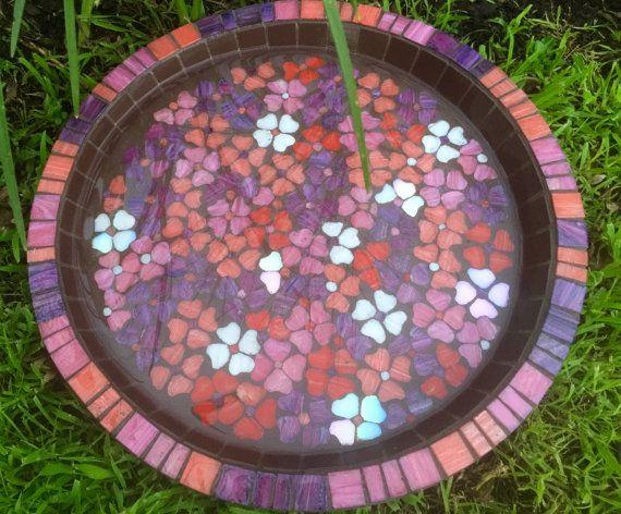 Bird bath| Mosaic Birdbath | Sweet Pea mosaic bird bath