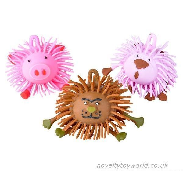 Squeezable rubber spiked puffer balls in assorted cute farm animal designs. Measure 9cm and feature a loop for hanging or attaching. Wholesale bulk buy from 144 units.