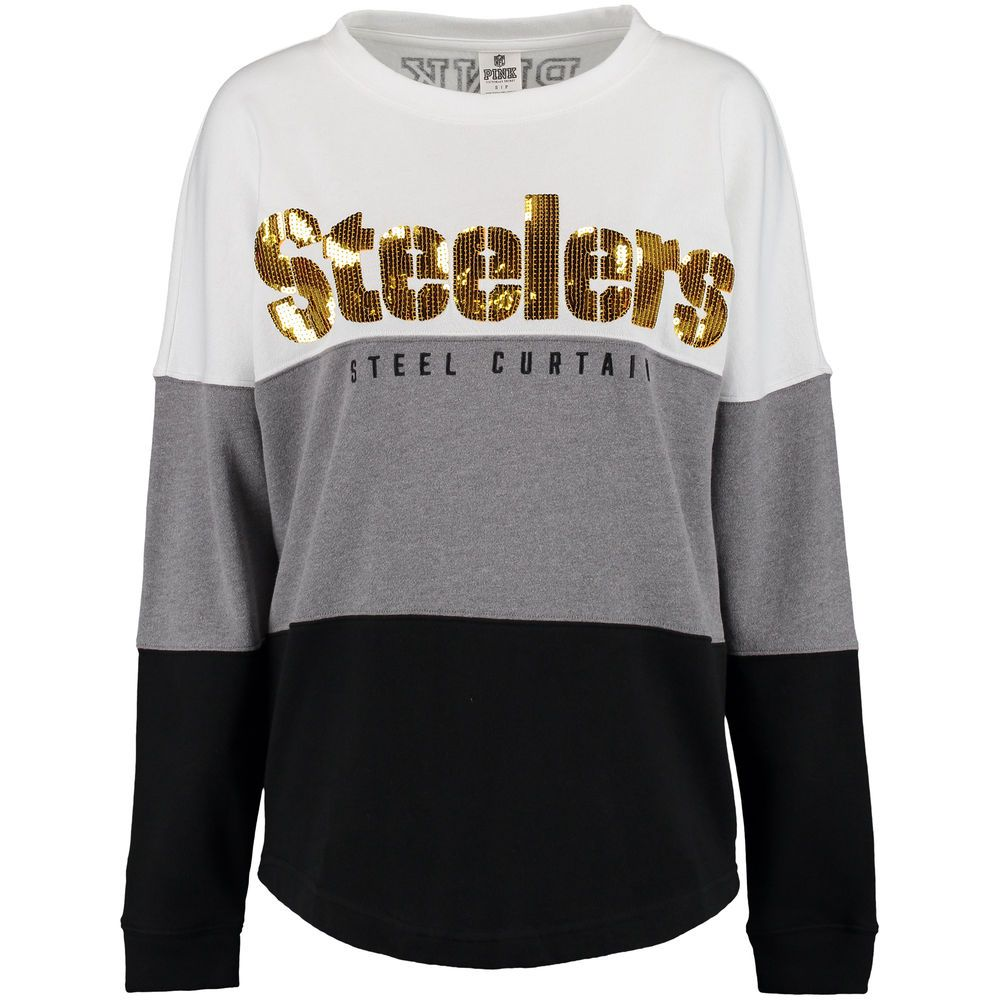 Women s Pittsburgh Steelers PINK by Victoria s Secret Black Gray White  Bling Varsity Crew Neck Sweatshirt d282a1262
