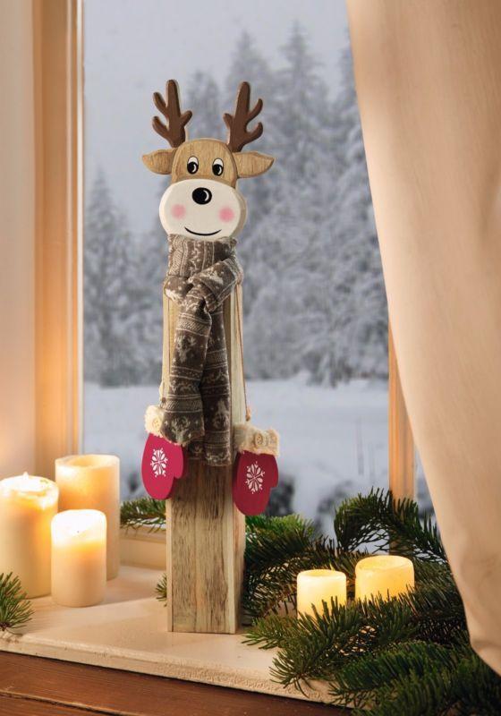 deko s ule rentier 56 cm holz s ule weihnachtsdeko elch hirsch winterdeko deko christmas. Black Bedroom Furniture Sets. Home Design Ideas