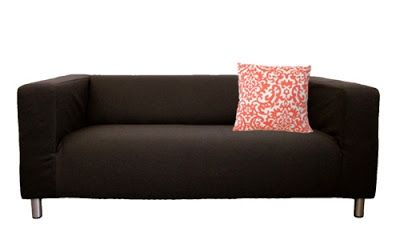 ikea klippan loveseat cover in espresso twill by knestingcom with coral duncan pillow cover