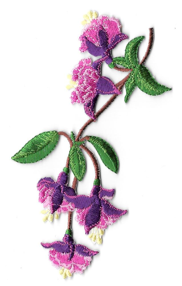 Fuchsia Flower Tropical Hanging Plant Embroidered Iron On Applique Patch Fuchsia Flower Iron On Applique Applique Patch