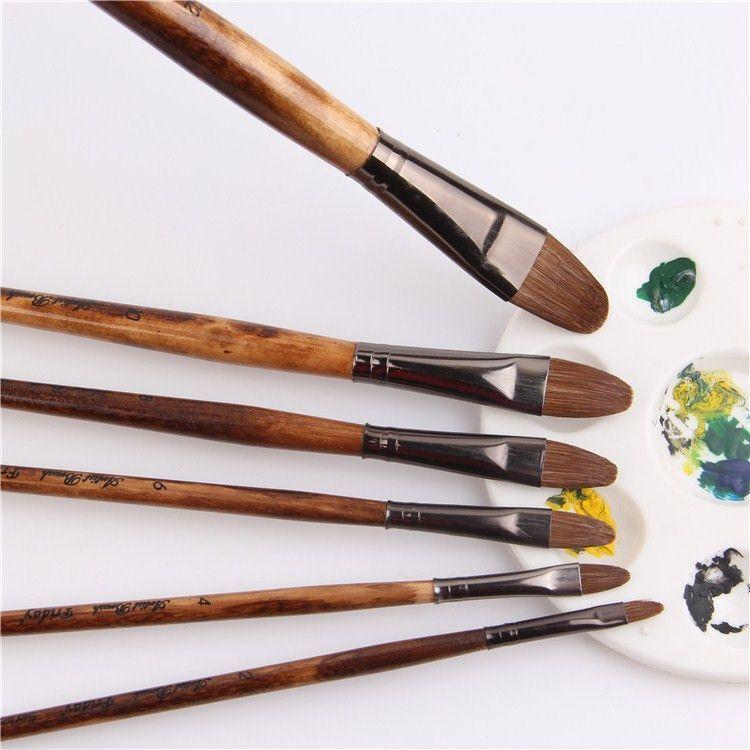 6pcs Set High Grade Manet Weasel Hair Brush Painting Brush Tongue Peak Row Brush Acrylic Painting Brush Set Drawing Art Supplies Oil Paint Brushes Paint Brushes Hair Painting