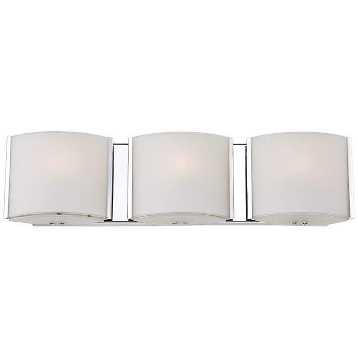 Possini Euro Wide Frosted Glass Band Bathroom Light - Lamps plus bathroom lights