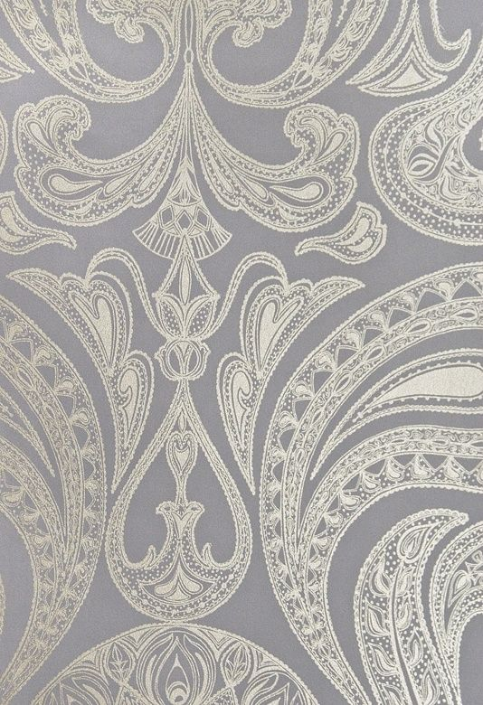 Powder Room Malabar Wallpaper Dark Lilac Grey Wallpaper With Large