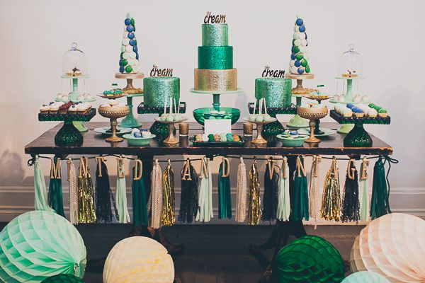 The Cream Event Los Angeles, Minted and Vintage dessert stands, dessert table, emerald, gold - I spy brigadeiros from Simply Brigadeiro.