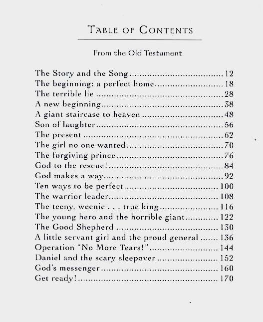 Table Of Contents Old Testament Bible Lessons Storybook Christian Childrens Books