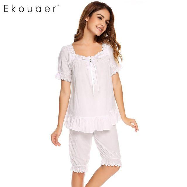 Ekouaer Vintage Pajamas Set Women Lace Patchwork Sleepwear Victorian Short  Sleeve Nightwear Summer Cute Nightgown Female Pajama  365183071