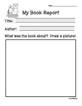 Book Report Forms Fiction And Non Fiction Kindergarten Book