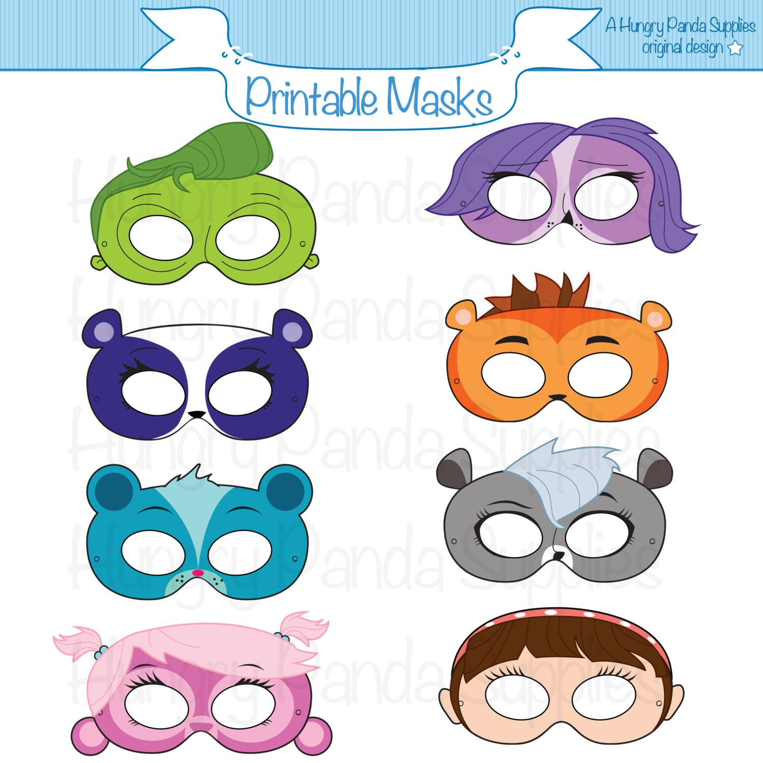 Pets Printable Masks, animal mask, pets party masks, animal party ...