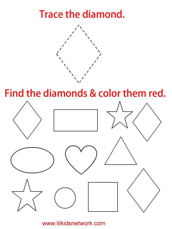 Tracable diamond worksheet | Shapes | Pinterest | Worksheets ...