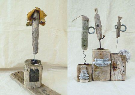 sculptures en bois et objets de récupération Bois flotté driftwood - peinture bois et fer