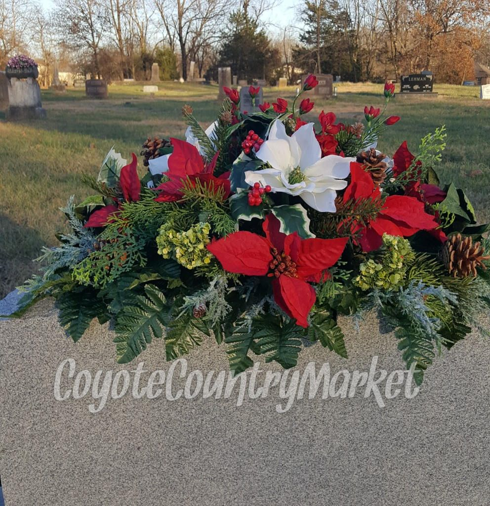 winter headstone saddle flowers for headstone grave decoration memorial flowers christmas grave - Christmas Grave Decorations
