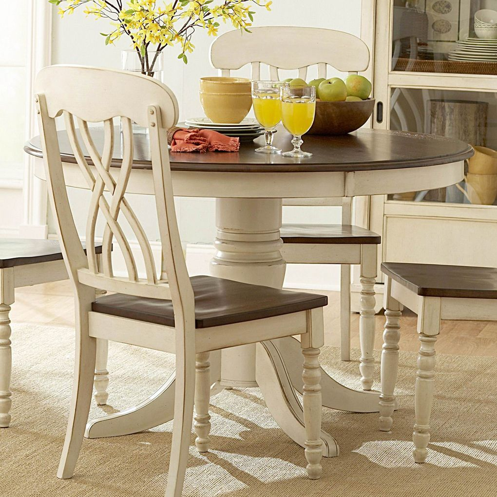 Round White Kitchen Table Sets Ohana Dining - Antique White Round Dining Table Set - Starrkingschool
