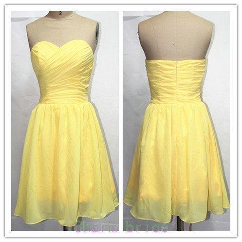 cute short yellow bridesmaid dresses