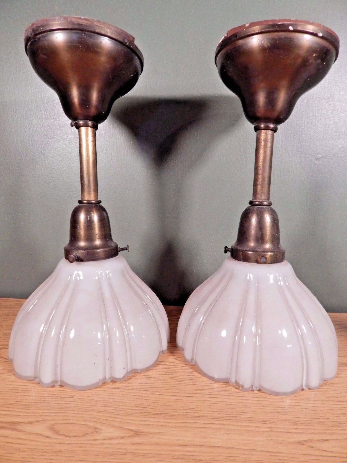 Antique Pair Of Hanging Lights With Shades Removed From An Ohio Masonic  Lodge U2022 $195.00
