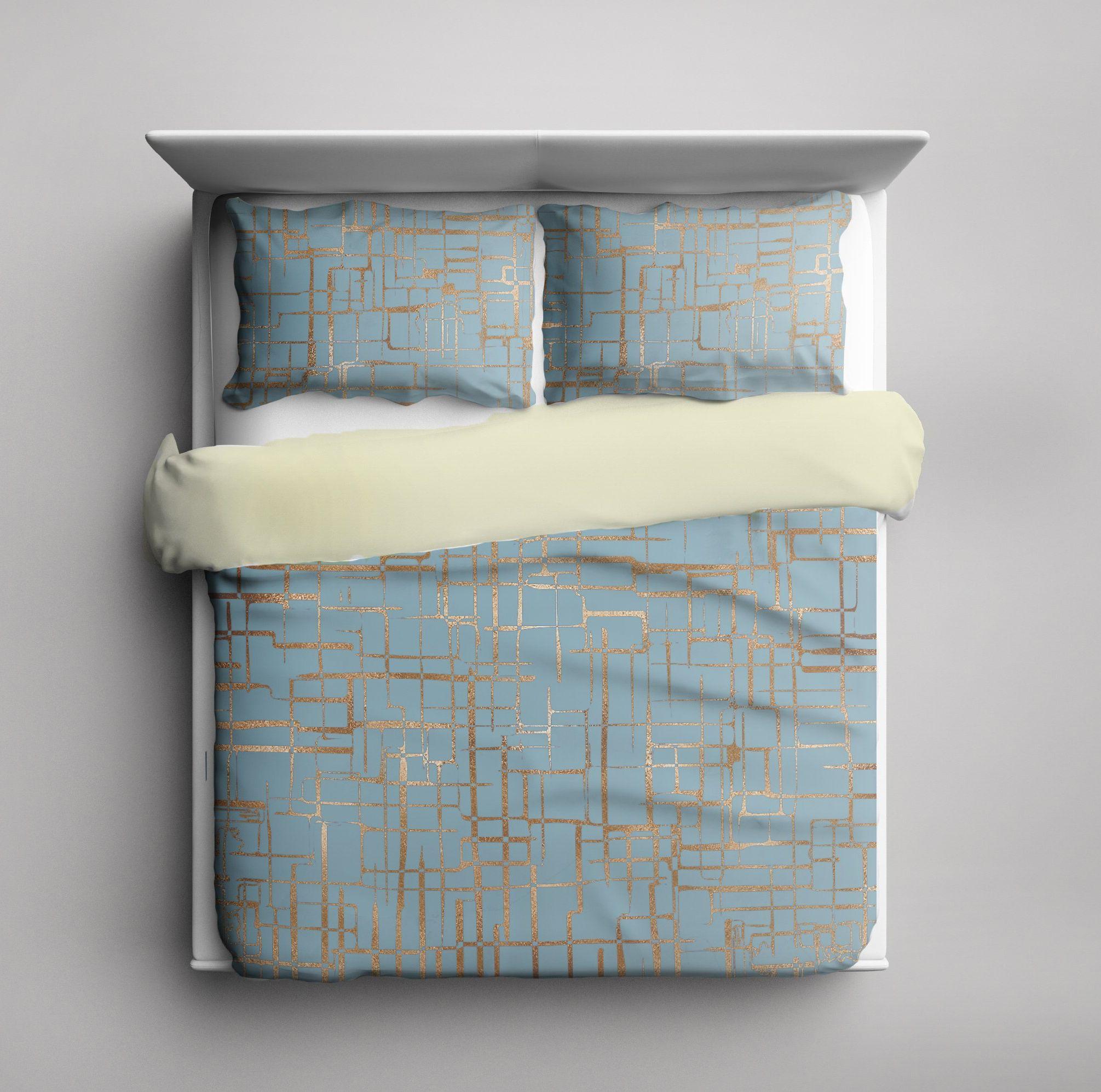 Blue Gold Geometric Duvet Cover Modern Bedding
