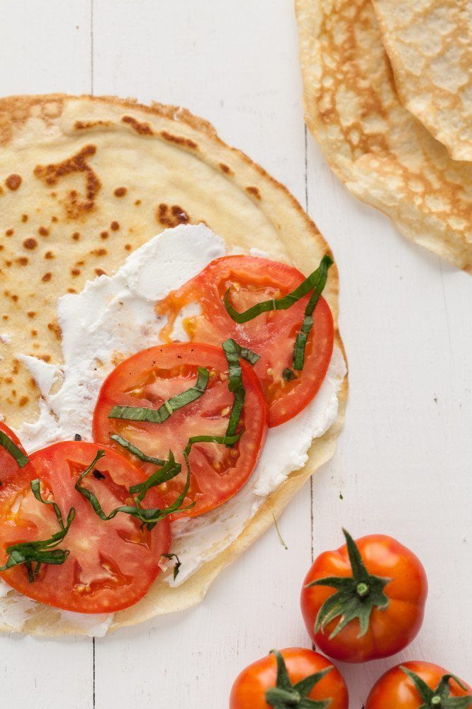 Love these Gluten-Free Oat Crepes with Tomatoes, Basil + Goat Cheese.