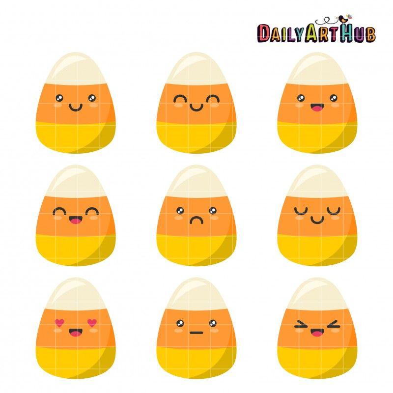 Candy Corn Emojis Clip Art Set Clip Art Art Hub Candy Corn
