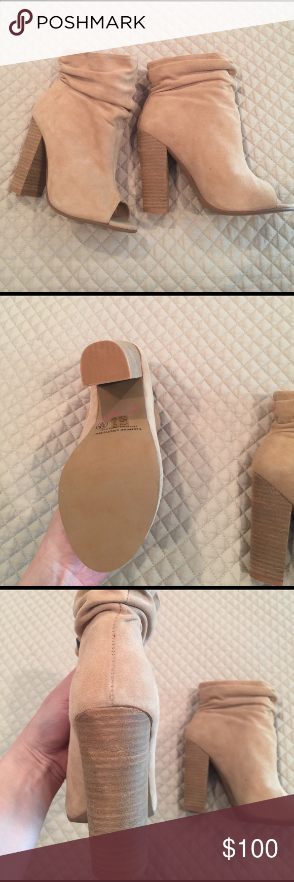 Booties - NEW Kristin cavalleri Nude suede booties Chinese Laundry Shoes Heeled Boots