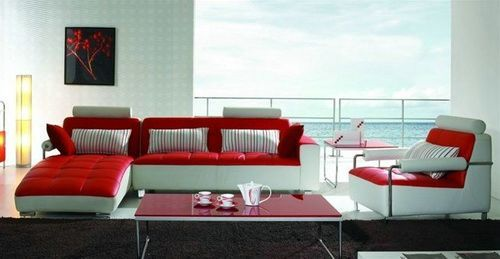 Modern Full Grain Leather Sofa Red And White