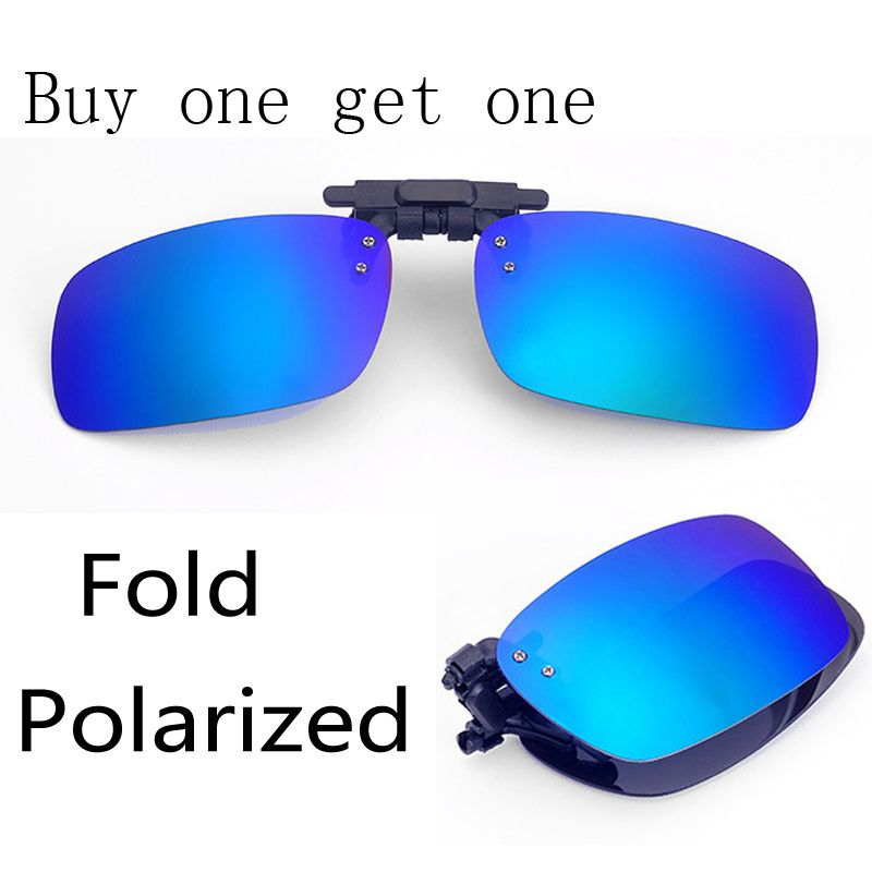 a5f2a96d8ce Fold Polarized Clip on Sunglasses clip on glasses square Polaroid Lens Men  Women mirror clip Sun Glasses Night…