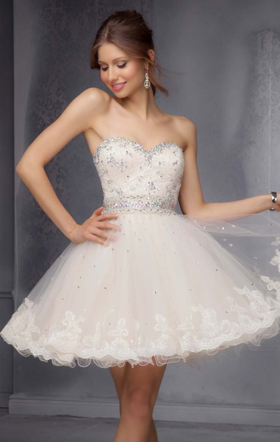 Charming white ball gown above knee sweetheart beaded lace