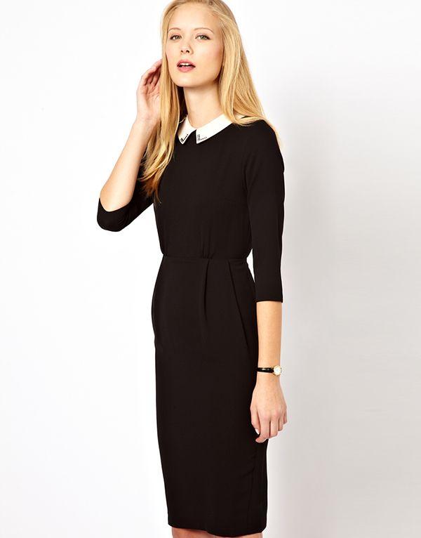 Asos Tulip Dress With Collar Detail Womens Designer Dresses