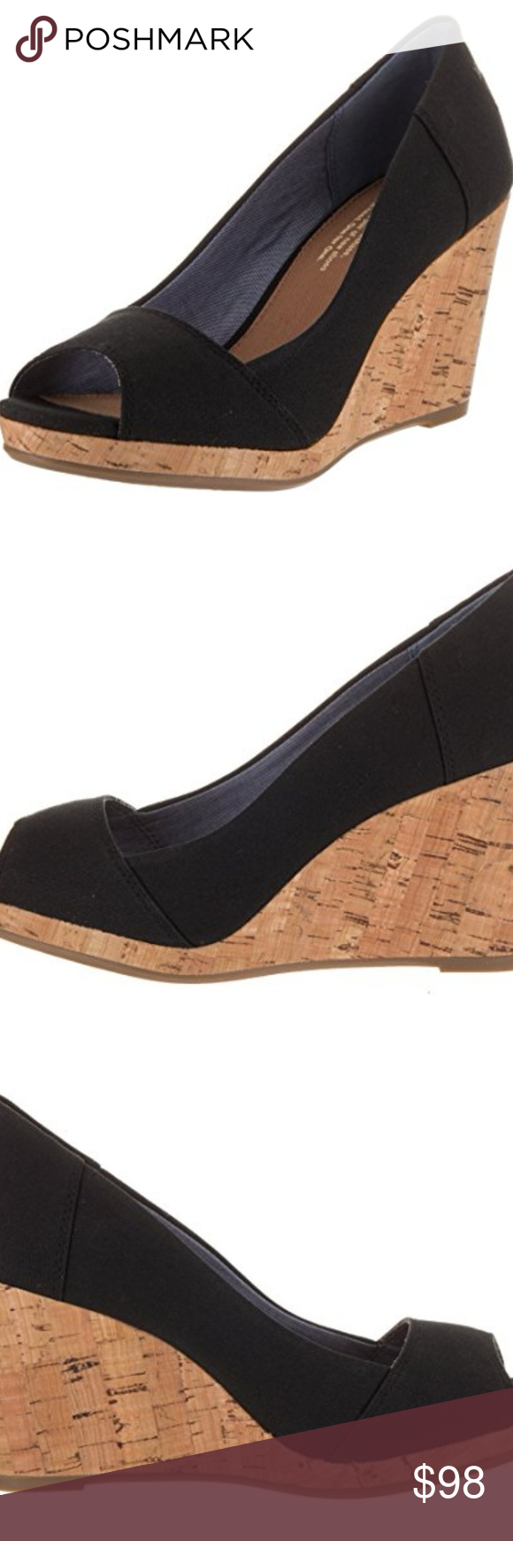 460449d0d77 Toms Women s Stella Wedge Black Canvas Casual Shoe canvas Cork heel