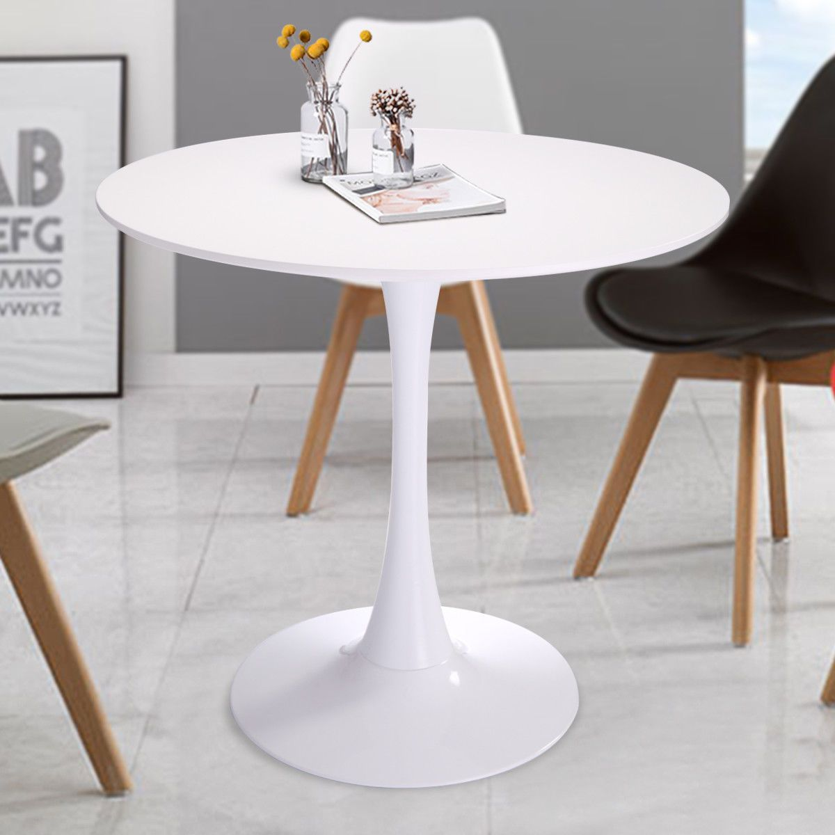 32 Inch Round Tulip Dining Table Coffee In White